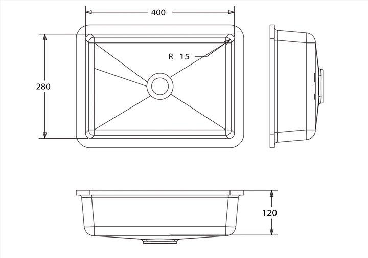 LG HiMacs® Waschbecken Rechteckform CB 402