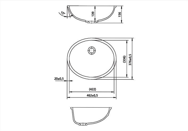 LG HiMacs® Waschbecken oval CB 422