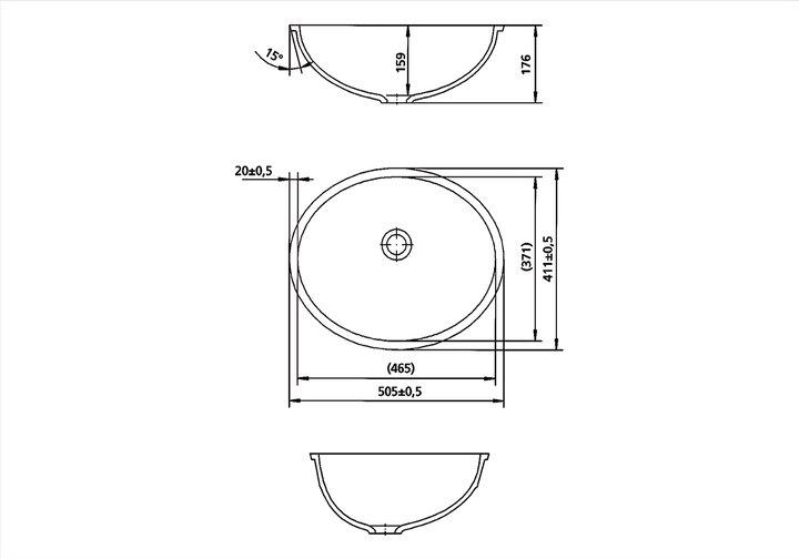 LG HiMacs® Waschbecken oval CB 465