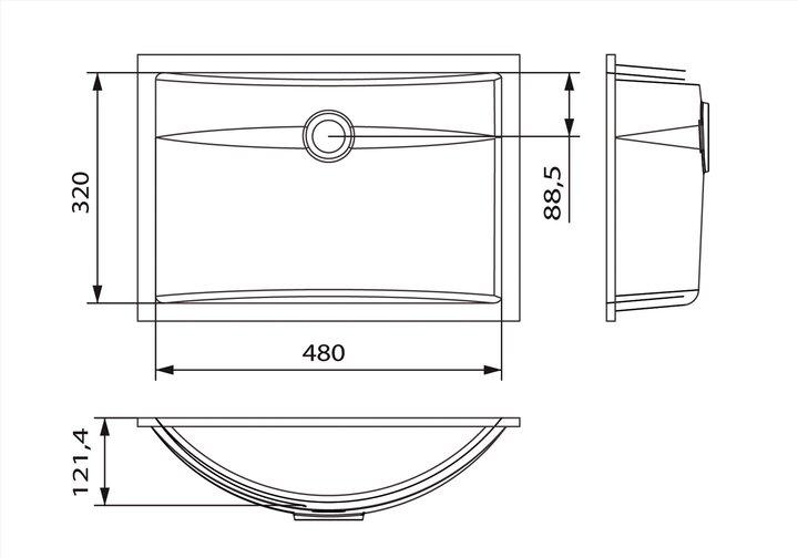 LG HiMacs® Waschbecken Wellenform CB 483