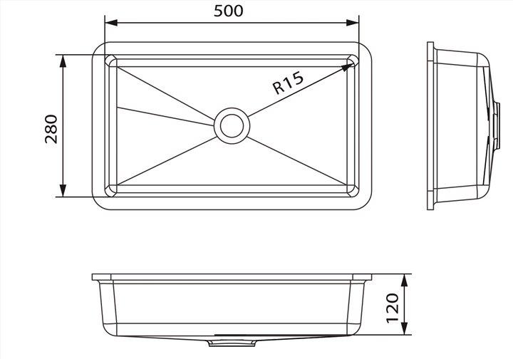 LG HiMacs® Waschbecken Rechteckform CB 502
