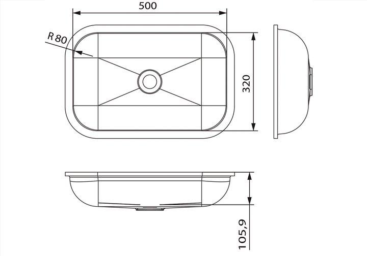 LG HiMacs® Waschbecken Rechteckform CB 503