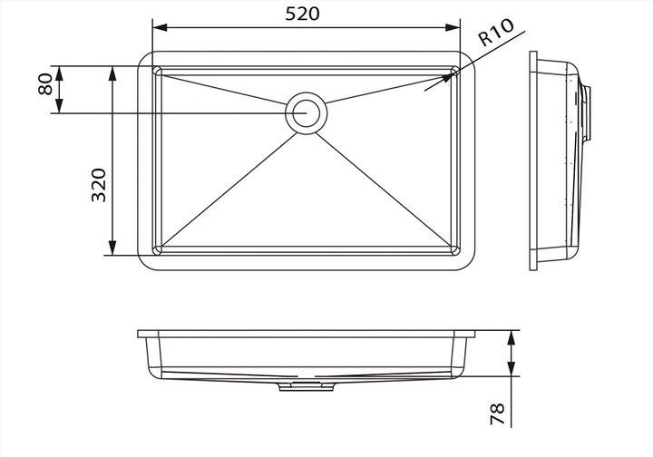 LG HiMacs® Waschbecken Rechteckform CB 523