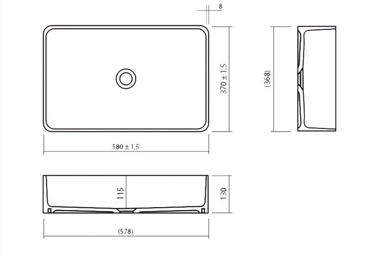 LG HiMacs® Aufsatzbecken CB 540R