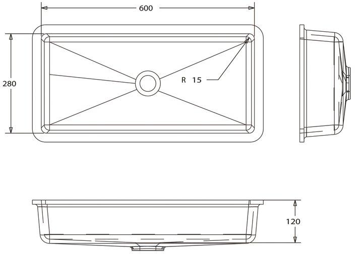 LG HiMacs® Waschbecken Rechteckform CB 602