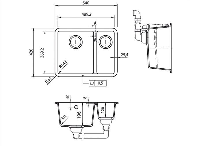 LG HiMacs® Spülbecken CS 490 D