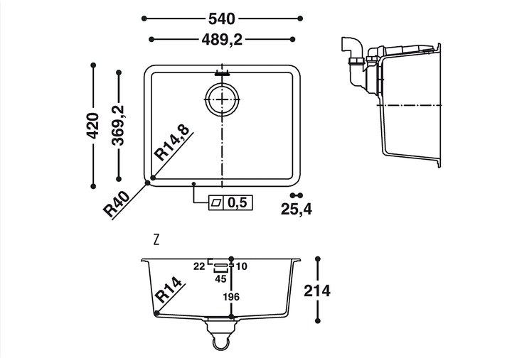 LG HiMacs® Spülbecken CS 490 R