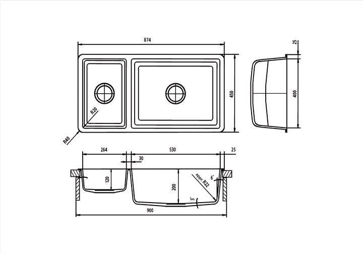 LG HiMacs® Spülbecken CS 824 D